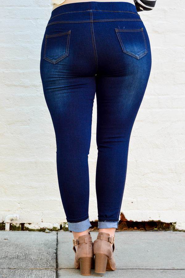 jeggings, dark wash, blue, distressed