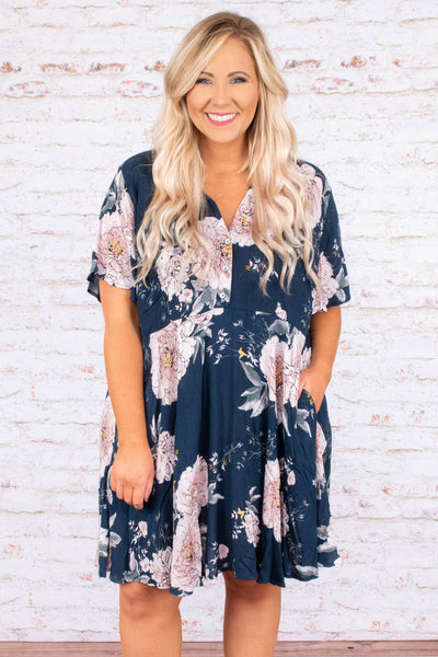 dress, short, short sleeve, babydoll, vneck, buttons, navy, pink, green, floral, flowy, spring, summer