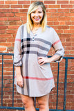 dress, short, three quarter sleeve, vneck, buttons, buttoned cuffs, curved hem, longer back, flowy, taupe, black, red, plaid, comfy