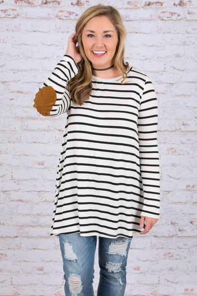 tunic, long sleeve, white, black, striped, elbow patches, flowy