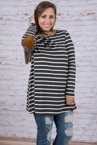 top, tunic, charcoal, long sleeve, charcoal, ivory, stripe, elbow patches
