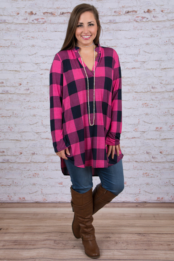 Party in Plaid Top, Pink-Navy