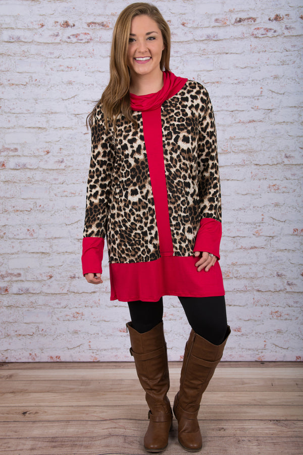 Feline Fancy Tunic, Red