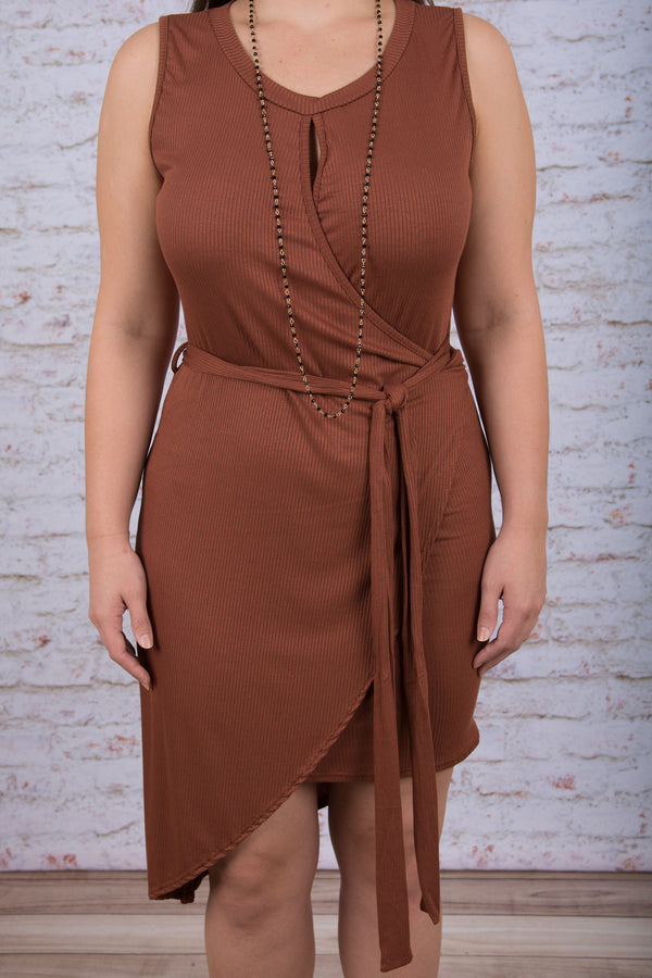 Sleek and Chic Dress, Rust