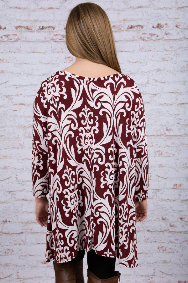 Never Too Busy Tunic, Burgundy