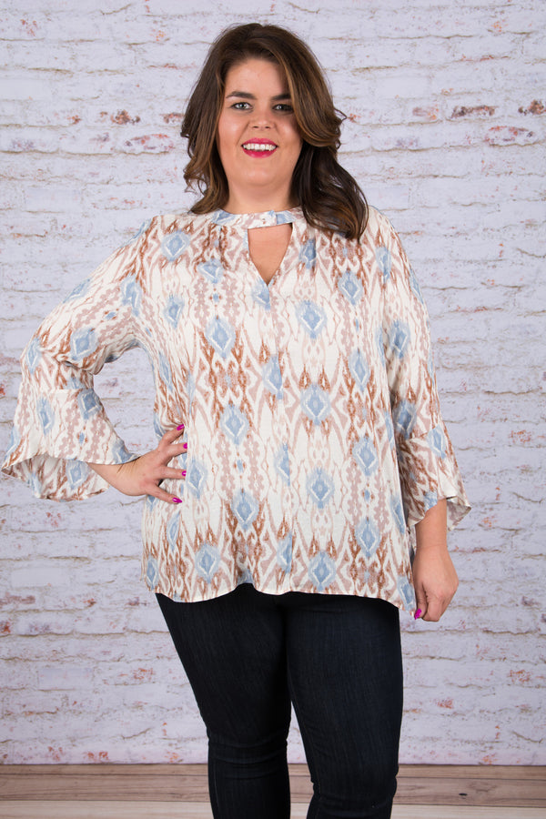Right on Track Blouse, Taupe