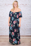 Fairly Floral Maxi Dress, Navy