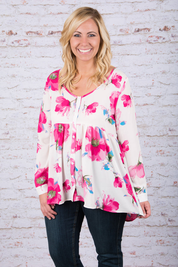 Flower Frenzy Blouse, White