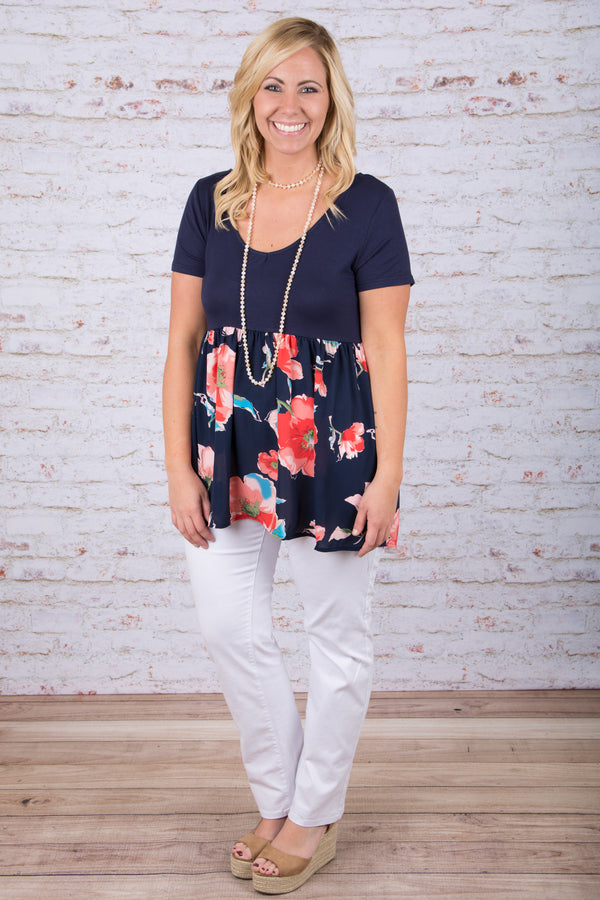 May Flowers Top, Navy