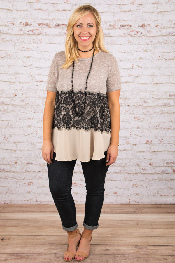 Embrace Lace Top, Stone