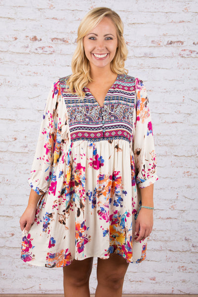 dress, short, three quarter sleeve, vneck, white, pink, blue, yellow, orange, floral, comfy, flowy, spring, summer
