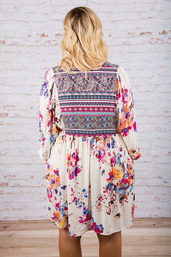 Boho Bouquet Dress, Cream
