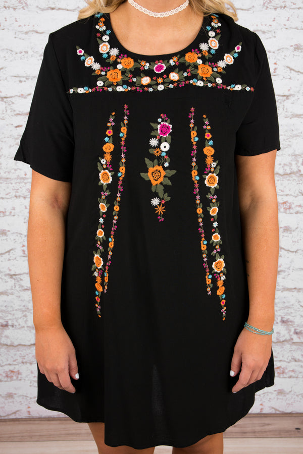 dress, short, short sleeve, flowy, black, embroidered, pink, orange, green, white, comfy