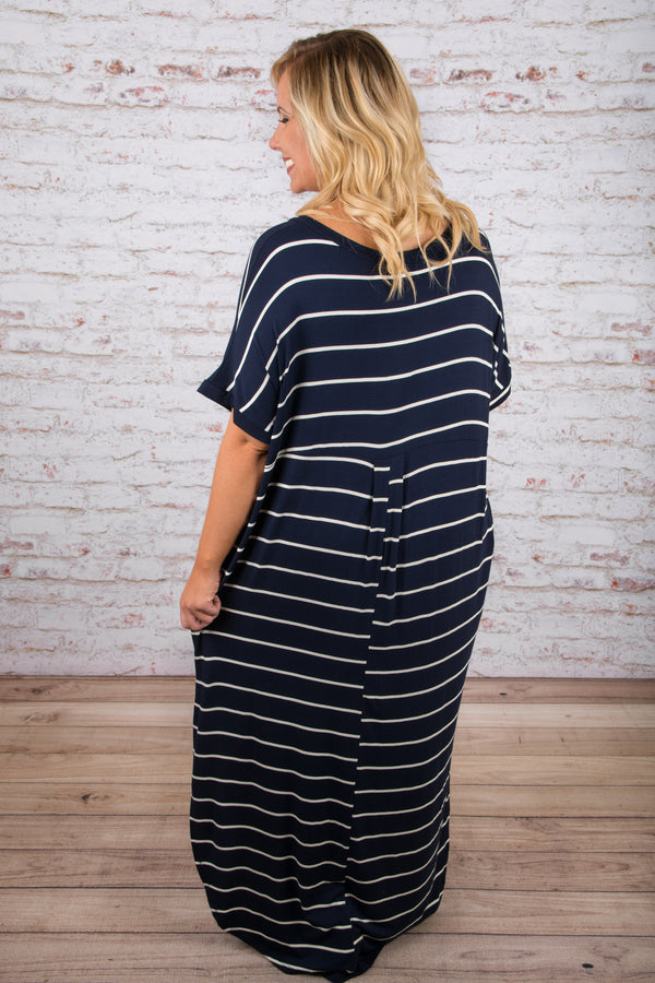 Show Your Stripes Maxi Dress, Navy-Ivory