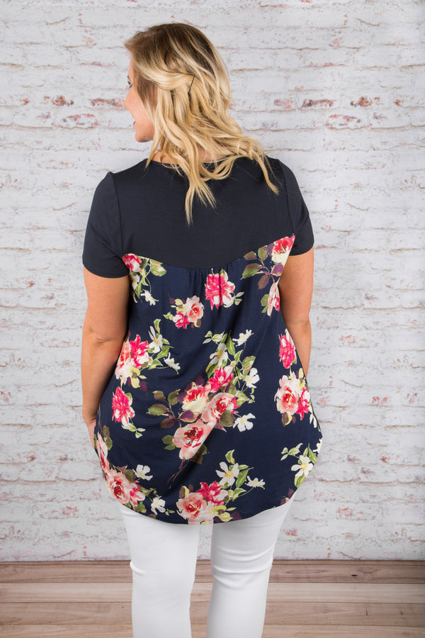 Carried Away Top, Navy