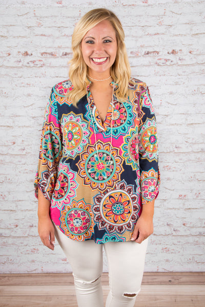 Forever Funky Blouse, Navy-Pink