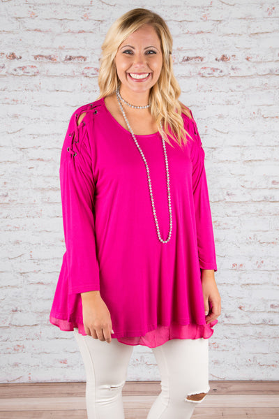 All Eyes On Me Tunic, Raspberry