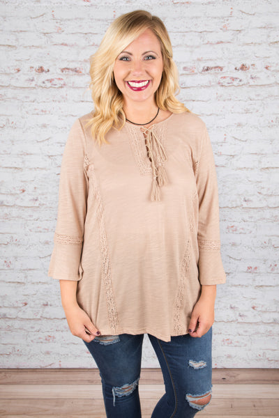 Show Stopper Blouse, Taupe