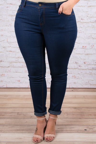 Never Let You Down Skinny Jeans, Dark Wash