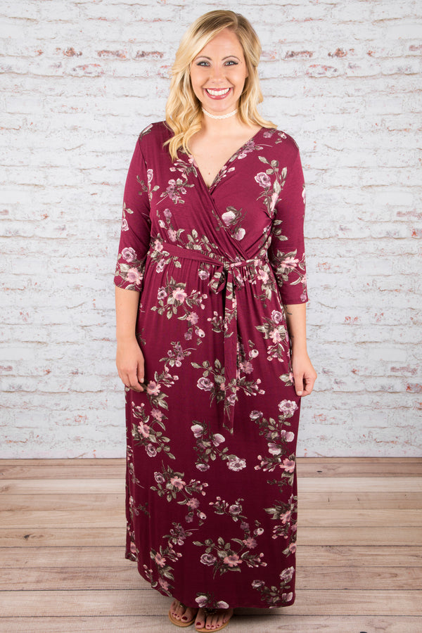 Polished and Perfected Maxi Dress, Wine