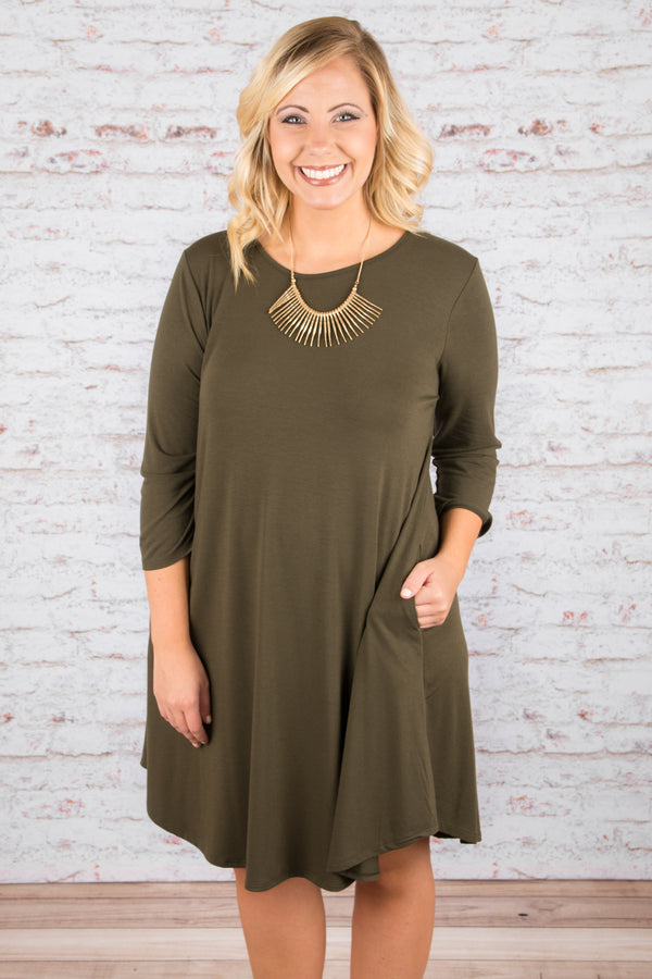 dress, casual dress, three quarter sleeve, baby doll dress, solid, green