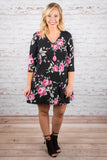 Night Blooms Dress, Black