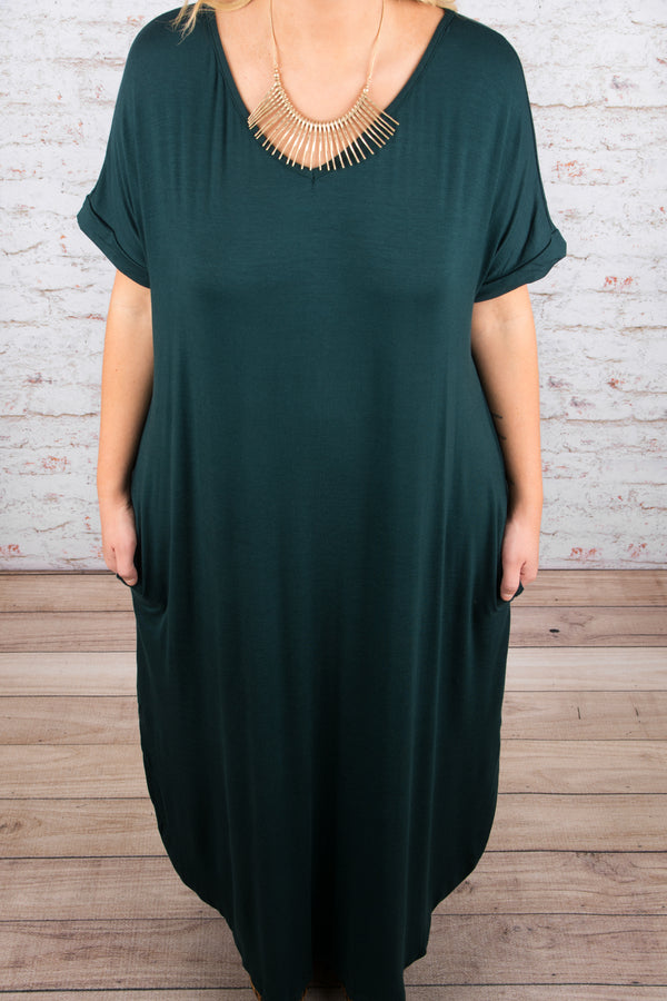 Casual Flow Maxi Dress, Hunter Green