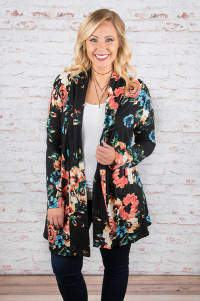 cardigan, long sleeve, long, flowy, black, floral, blue, red, white, green, comfy