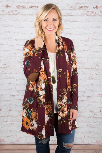 cardigan, long sleeve, elbow patches, long, flowy, red, floral, white, mustard, blue, green,  comfy