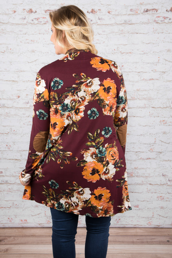 Fab in Floral Cardigan, Wine