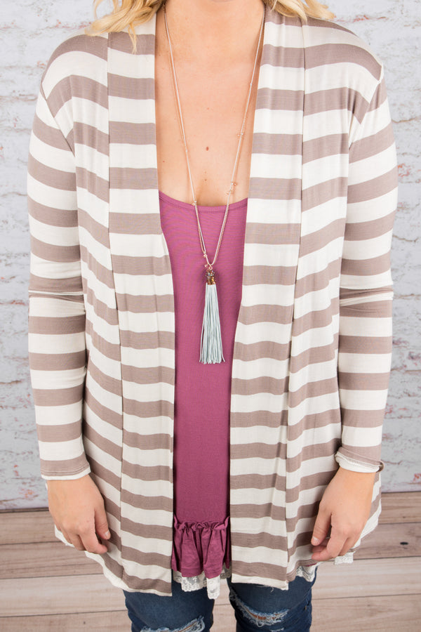 Patch Me If You Can Cardigan, Taupe