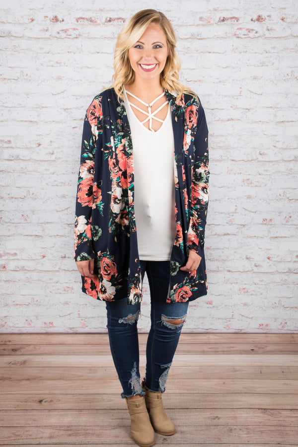 Fab in Floral Cardigan, Navy
