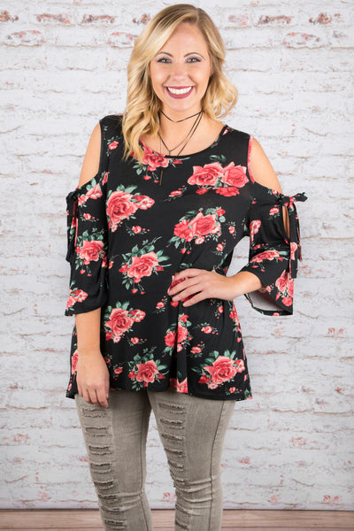A Bed of Roses Top, Black