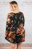 dress, short, long sleeve, pockets, flowy, black, floral, red, green, orange, white, comfy