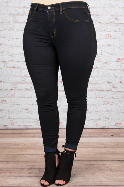 Running Out of Time Skinny Jean, Dark Wash