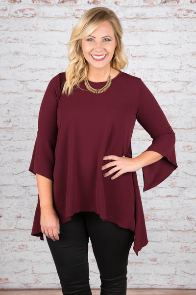 Flare Out Top, Burgundy