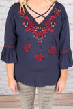 Blooming Beauty Tunic, Navy