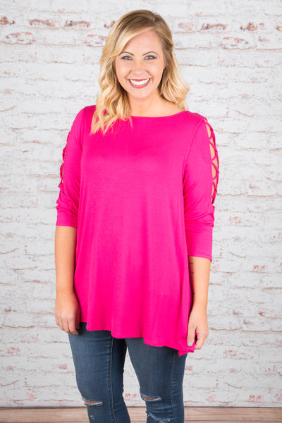 top, tunic, pink, three quarter sleeve, flowy, open sleeve with criss cross detail