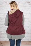 top, vest, burgundy, button up