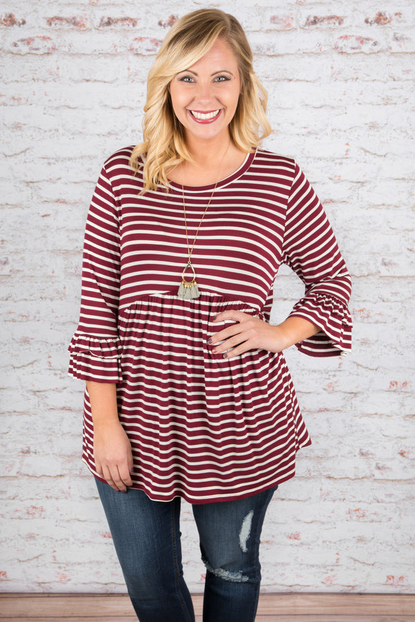 Crazy About You Top, Burgundy