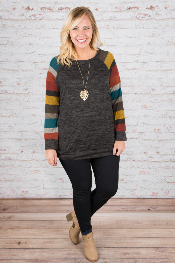 Super Stripes Top, Charcoal