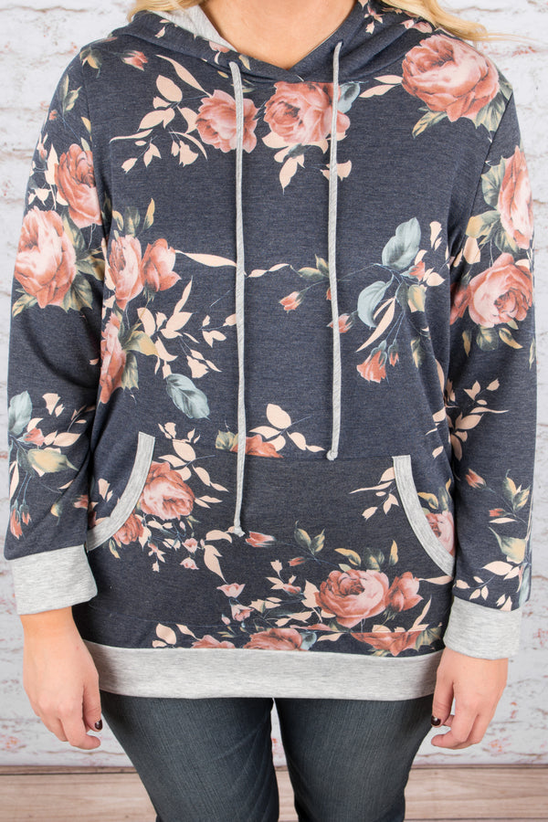 Floral Addiction Hoodie, Navy