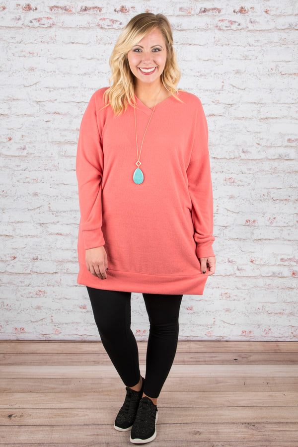 Call You Back Tunic, Dusty Coral