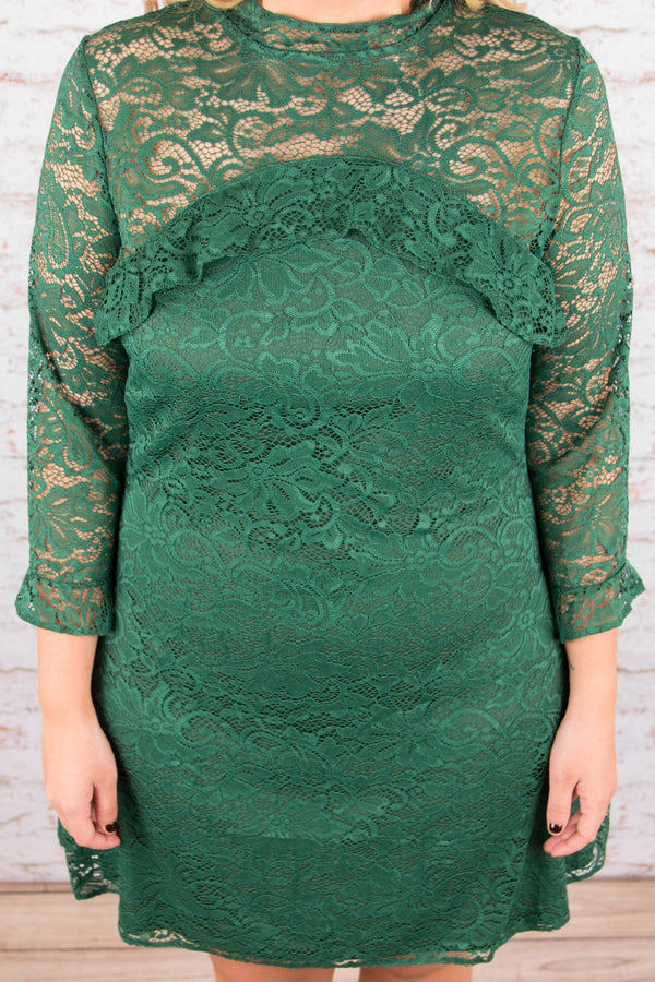 Delicate Delights Dress, Hunter Green