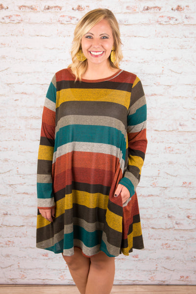 dress, short, long sleeve, pockets, flowy, rust, brown, mustard, gray, orange, teal, striped, comfy, fall, winter
