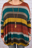tunic, long sleeve, red, orange, gray, teal, brown, yellow, stripes, flowy, fall
