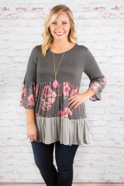 Fingers Crossed Tunic, Gray
