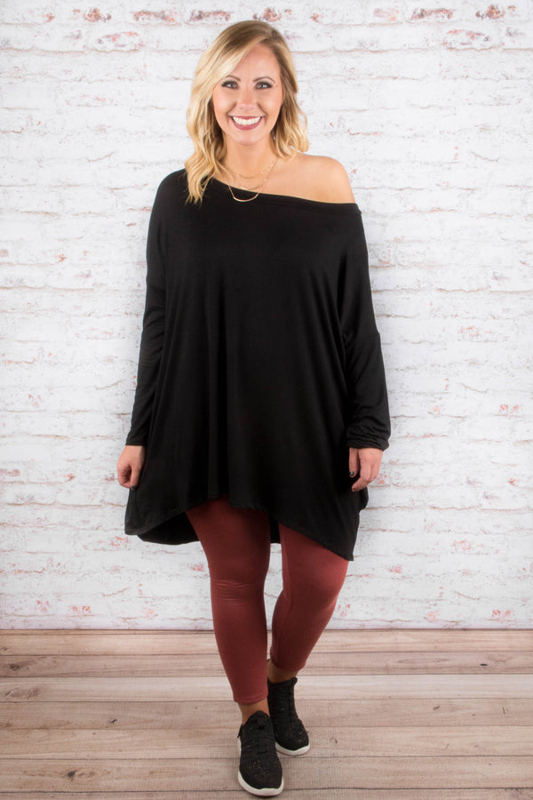 tunic, long sleeves, off the shoulder, flowy, black, solid, fall, winter
