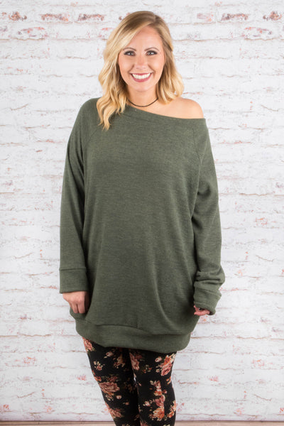 Addicted To Comfort Tunic, Olive
