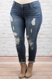 Perfectly Imperfect Skinny Jeans, Dark Wash